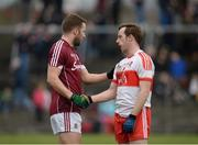 19 March 2017; Michael Lundy of Galway and Neil Forester of Derry shake hands following the Allianz Football League Division 2 Round 5 match between Galway and Derry at St. Jarlath's Park in Tuam, Co Galway. Photo by Sam Barnes/Sportsfile