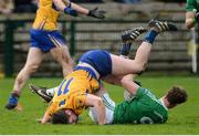19 March 2017; Lee Cullen of Fermanagh in action against Keelan Sexton of Clare during the Allianz Football League Division 2 Round 5 match between Fermanagh and Clare at Brewster Park in Enniskillen, Co Fermanagh. Photo by Oliver McVeigh/Sportsfile