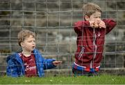 19 March 2017; Galway supporters Shay Cole, age 6, right, with his younger brother Joel, age 3, from Galway watch on during the Allianz Football League Division 2 Round 5 match between Galway and Derry at St. Jarlath's Park in Tuam, Co Galway. Photo by Sam Barnes/Sportsfile
