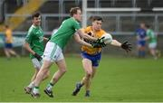 19 March 2017; Che Cullen of Fermanagh  in action against Keelan Sexton of Clare during the Allianz Football League Division 2 Round 5 match between Fermanagh and Clare at Brewster Park in Enniskillen, Co Fermanagh. Photo by Oliver McVeigh/Sportsfile