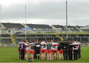 19 March 2017; The Derry team huddle following the Allianz Football League Division 2 Round 5 match between Galway and Derry at St. Jarlath's Park in Tuam, Co Galway. Photo by Sam Barnes/Sportsfile