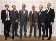 19 March 2017; Dundalk FC Players, from left, David McMillan, Vinny Perth, Stephen Kenny (Manager), along with Dave Massey, Stephen O'Donnell and Brian Gartland arrive for the Three FAI International Soccer Awards at RTE Studios in Donnybrook, Dublin. Photo by Brendan Moran/Sportsfile