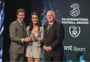 19 March 2017; Roma McLaughlin of  Shelbourne is presented with the U19 Women's International Player of the Year by Gavin McAllister PR & Sponsorship Manager of Three Ireland and FAI President Tony Fitzgerald during the Three FAI International Soccer Awards at RTE Studios in Donnybrook, Dublin. Photo by Brendan Moran/Sportsfile
