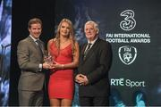 19 March 2017; Saoirse Noonan, Cork City WFC, is presented with the U17 Women's International Player of the Year by Gavin McAllister PR & Sponsorship Manager of Three Ireland (left) and FAI President Tony Fitzgerald during the Three FAI International Soccer Awards at RTE Studios in Donnybrook, Dublin. Photo by Brendan Moran/Sportsfile