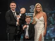 19 March 2017; Robbie Keane receives his Hall of Fame Award with wife Claudine and sons Hudson (left), and Robert Jnr,  during the Three FAI International Soccer Awards at RTE Studios in Donnybrook, Dublin. Photo by Brendan Moran/Sportsfile