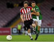 2 May 2016; Ryan McBride of Derry City, in action against Mark O'Sullivan of Cork City during the EA Sports Cup, Quarter-Final, match between Cork City and Derry Cit at Turners Cross in Cork. Derry City captain Ryan McBride passed away suddenly at the age of 27. Photo by Eóin Noonan / SPORTSFILE
