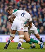 18 March 2017; Jared Payne of Ireland is tackled by Courtney Lawes and England during the RBS Six Nations Rugby Championship match between Ireland and England at the Aviva Stadium in Lansdowne Road, Dublin. Photo by Sam Barnes/Sportsfile