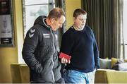 20 March 2017; Derry City FC manager Kenny Shiels, left, and Derry City press officer Kevin McLaughlin leave after a press conference in Da Vinci's Hotel to pay tribute to the late Derry City captain Ryan McBride, who passed away suddenly at the age of 27. Da Vinci's lin Derry. Da Vinci's Hotel, Derry. Photo by Oliver McVeigh/Sportsfile