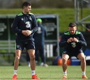 20 March 2017; John Egan, left, and Andy Boyle of Republic of Ireland during squad training at FAI National Training Centre in Abbotstown Co. Dublin. Photo by David Maher/Sportsfile