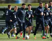 20 March 2017; Shane Long, left, and Jonathan Walters of Republic of Ireland during squad training at FAI National Training Centre in Abbotstown Co. Dublin. Photo by David Maher/Sportsfile