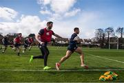 20 March 2017; Adam Byrne, right, and Barry Daly of Leinster during squad training at UCD in Dublin. Photo by Stephen McCarthy/Sportsfile