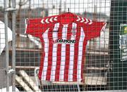 20 March 2017; A Derry City FC jersey is pinned to the fence outside the Brandywell Stadium, which is currently under construction, to pay tribute to the late Derry City captain Ryan McBride, who passed away suddenly at the age of 27. The Brandywell Stadium, Derry. Photo by Oliver McVeigh/Sportsfile