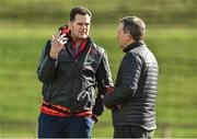 20 March 2017; Munster director of rugby Rassie Erasmus, left, and Munster CEO Garrett Fitzgerald in conversation during squad training at the University of Limerick in Limerick. Photo by Diarmuid Greene/Sportsfile