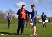 20 March 2017; Munster scrum coach Jerry Flannery and director of rugby Rassie Erasmus, left, in conversation during squad training at the University of Limerick in Limerick. Photo by Diarmuid Greene/Sportsfile