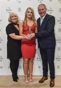 19 March 2017; Under 17 Women's International Player of the Year Saoirse Noonan of Cork City WFC with her parents Deirdre and Peter in attendance at the Three FAI International Soccer Awards at RTE Studios in Donnybrook, Dublin. Photo by Brendan Moran/Sportsfile