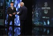 19 March 2017; U21 International Player of the Year Callum O'Dowda of Bristol City is interviewed by Tony O'Donoghue of RTE during the Three FAI International Soccer Awards at RTE Studios in Donnybrook, Dublin. Photo by Brendan Moran/Sportsfile