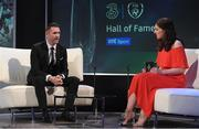 19 March 2017; Former Republic of Ireland captain and record goalscorer Robbie Keane is interviewed by Joanne Cantwell of RTE during the Three FAI International Soccer Awards at RTE Studios in Donnybrook, Dublin. Photo by Brendan Moran/Sportsfile
