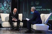 19 March 2017; International Personality of the Year John Hartson is interviewed by Tony O'Donoghue of RTE during the Three FAI International Soccer Awards at RTE Studios in Donnybrook, Dublin. Photo by Brendan Moran/Sportsfile