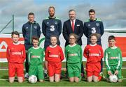 21 March 2017; Republic of Ireland Internationals, from left, Jonathan Hayes, David Meyler and Seamus Coleman, with Colin Donnelly, SPAR Sales Director and Spar Ambassadors, from left, Roibeard Ó Gallchóir, Seosamh Ó Conghaile, Síofra Nic Oireachtaigh, Rachel Ní Fhrathair, Grace Nic Craith, and Ryan Mac Róibín in attendance during the SPAR FAI Retailers Masterclass at FAI pitches, National Sports Campus, in Abbotstown, Dublin 15.SPAR provided more than 70 local retailers' children with the opportunity to train with Republic of Ireland players, at the teams training camp in the National Sports Campus in advance of the Republic of Ireland vs Wales on Friday. SPAR is the Official Convenience Retail Partner of the FAI and sponsors of the SPAR FAI Primary School 5s Programme, the largest primary school's competition in the country with 28,256 participants. Photo by Sam Barnes/Sportsfilee