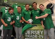30 August 2011; Republic of Ireland players, Liam Lawrence and Stephen Kelly pictured with, from left, Calvin Green, age 15, Sean McGowan, age 16, and John Bolger, age 15, all from Inchicore, at a surprise Three Trade In visit to Champion, Jervis Street. Three is asking Irish fans to Go Green With Pride and trade in their old Republic of Ireland football jerseys in any Champion store nationwide and get €20 off the new home jersey. The traded in jerseys will be donated to Friends In Ireland, a charity founded by Marian Finucane. The scheme will run until September 30th. Champion Sports, Jervis Centre, Dublin. Picture credit: Brian Lawless / SPORTSFILE