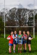 21 March 2017; In attendance at the Lidl All Ireland Post Primary School's Finals media day are, from left, Holy Faith Clontarf vice-captain Sarah Fagan, St Ciaran's Ballygawley captain Chloe McCaffrey, Loreto Clonmel captain Aisling Deely, Presentation Thurles captain Roisín Daly, and John the Baptist Limerick player Emer McCarthy. The Lidl All Ireland Post Primary School's Finals take place this Sunday. The Lidl Senior A Final takes place in Cusack Park on at 1:00pm when John the Baptist from Limerick face St. Ciarans Ballygawley. The Lidl Senior B and C Finals will take place in O'Moore Park with Loreto Clonmel meeting St. Joseph's Rochford Bridge at 12:15pm followed by the Senior C Final between Presentation Thurles and Holy Faith Clontarf at 2:15pm. Photo by Stephen McCarthy/Sportsfile