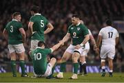 18 March 2017; Cian Healy, right, picks up team-mate #Jonathan Sexton of Ireland during the RBS Six Nations Rugby Championship match between Ireland and England at the Aviva Stadium in Lansdowne Road, Dublin. Photo by Brendan Moran/Sportsfile