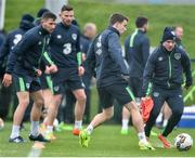 22 March 2017; Seamus Coleman, centre, and Jonny Hayes of Republic of Ireland during squad training  at the FAI National Training Centre in Abbotstown, Co Dublin. Photo by David Maher/Sportsfile