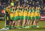 18 March 2017; The Donegal team stand for the national anthem ahead of the Allianz Football League Division 1 Round 5 match between Donegal and Tyrone at MacCumhaill Park in Ballybofey, Co Donegal. Photo by Oliver McVeigh/Sportsfile