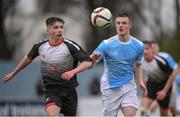 22 March 2017; Ger O'Mahony of St. Francis College in action against Peter Corcoran of Rice College during the Bank of Ireland FAI Schools Dr. Tony O'Neill Senior Cup National Final match between Rice College, Westport, and St. Francis College, Rochestown, at Home Farm FC in Whitehall, Dublin. Photo by Stephen McCarthy/Sportsfile