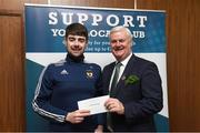 """17 March 2017; Lúthchleas Gael Aogán Ó Fearghail presents Ronan McVesey from Belturbet GAA Club, Cavan, who won a """"All Ireland Final Corporate package"""" during the presentation of prizes to the winners of the GAA National Club Draw at Croke Park in Dublin. Uachtarán Chumann Lúthchleas Gael Aogán Ó Fearghail Photo by Ray McManus/Sportsfile"""