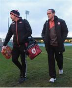 22 March 2017; The Tyrone managers Peter Canavan, left, and Brian Dooher ahead of the EirGrid Ulster GAA Football U21 Championship Quarter-Final Replay match between Donegal and Tyrone at MacCumhaill Park in Ballybofey, Co Donegal. Photo by Philip Fitzpatrick/Sportsfile