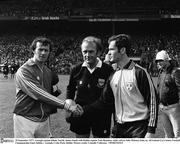 25 September 1977; Armagh captain Jimmy Smyth shakes hands with Dublin captain Tony Hanahoe, while referee John Moloney looks on. All-Ireland GAA Senior Football Championship Final, Dublin v Armagh, Croke Park, Dublin. Picture credit: Connolly Collection/SPORTSFILE