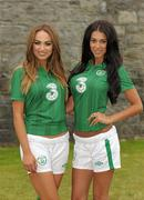 2 September 2011; Models Georgia Salpa and Daniella Moyles at the Aviva Stadium where they were giving out free jerseys to fans as part of Three's 'Go Green with Pride' campaign that is giving Irish fans the chance to trade in their old Republic of Ireland football jerseys in any Champion Sports store nationwide and get €20 off the brand new Republic of Ireland home jersey. The traded in jerseys will be collected and donated to Friends In Ireland, a charity founded by Marian Finucane that cares for orphans and vulnerable children affected by HIV/AIDS in South Africa. Aviva Stadium, Lansdowne Road, Dublin. Picture credit: Paul Mohan / SPORTSFILE