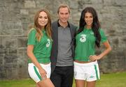 2 September 2011; Former Republic of Ireland star Jason McAteer, who scored the famous winning goal against Holland to secure a place at the 2002 World Cup ten years ago this week, with models Georgia Salpa and Daniella Moyles at the Aviva Stadium where they were giving out free jerseys to fans as part of Three's 'Go Green with Pride' campaign that is giving Irish fans the chance to trade in their old Republic of Ireland football jerseys in any Champion Sports store nationwide and get €20 off the brand new Republic of Ireland home jersey. The traded in jerseys will be collected and donated to Friends In Ireland, a charity founded by Marian Finucane that cares for orphans and vulnerable children affected by HIV/AIDS in South Africa. Aviva Stadium, Lansdowne Road, Dublin. Picture credit: Paul Mohan / SPORTSFILE
