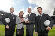 "23 March 2017; Ger O'Connor, Games Manager for Dublin GAA, Dr Sarahjane Belton, Lecturer at School of Health and Human Performance, DCU, Professor Noel O'Connor, Deputy Director of Insight Centre for Data Analytics at DCU and Dr Johann Issartel, Lecturer at School of Health and Human Performance, DCU,  in attendance at the ""Moving Well - Being Well"" project launch at Croke Park in Dublin. Just 11% of Irish teens have mastered fundamental movements that they should have mastered by the age of 6. The Insight Centre for Data Analytics along with The GAA, Dublin City University and Dublin GAA today launched ""Moving Well - Being Well"" - the largest project of its kind globally - which aims to tackle this potential catastrophe. Photo by Sam Barnes/Sportsfile"