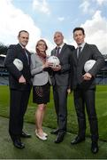 "23 March 2017; In attendance at the ""Moving Well - Being Well"" project launch at Croke Park in Dublin are, from left, Ger O'Connor, Games Manager for Dublin GAA, Dr Sarahjane Belton, Lecturer at School of Health and Human Performance, DCU, Professor Noel O'Connor, Deputy Director of Insight Centre for Data Analytics at DCU and Dr Johann Issartel, Lecturer at School of Health and Human Performance, DCU. Just 11% of Irish teens have mastered fundamental movements that they should have mastered by the age of 6. The Insight Centre for Data Analytics along with The GAA, Dublin City University and Dublin GAA today launched ""Moving Well - Being Well"" - the largest project of its kind globally - which aims to tackle this potential catastrophe. Photo by Sam Barnes/Sportsfile"