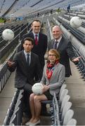 "23 March 2017; In attendance at the ""Moving Well - Being Well"" project launch at Croke Park in Dublin are, clockwise from left, Dr Johann Issartel, Lecturer at School of Health and Human Performance, DCU, Ger O'Connor, Games Manager for Dublin GAA, Professor Noel O'Connor, Deputy Director of Insight Centre for Data Analytics at DCU and Dr Sarahjane Belton, Lecturer at School of Health and Human Performance, DCU. Just 11% of Irish teens have mastered fundamental movements that they should have mastered by the age of 6. The Insight Centre for Data Analytics along with The GAA, Dublin City University and Dublin GAA today launched ""Moving Well - Being Well"" - the largest project of its kind globally - which aims to tackle this potential catastrophe. Photo by Sam Barnes/Sportsfile"