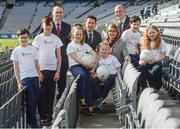 "23 March 2017;  In attendance at the ""Moving Well - Being Well"" project launch at Croke Park in Dublin are, from left, Ger O'Connor, Games Manager for Dublin GAA, Dr Johann Issartel, Lecturer at School of Health and Human Performance, DCU, Dr Sarahjane Belton, Lecturer at School of Health and Human Performance, DCU and Professor Noel O'Connor, Deputy Director of Insight Centre for Data Analytics at DCU along with ""Moving Well - Being Well"" ambassadors, from left, Matthew Grehan, Charlie Costello, Rachel Whelan, Sophie Whelan, Micheal Grehan and Robin Costello. Just 11% of Irish teens have mastered fundamental movements that they should have mastered by the age of 6. The Insight Centre for Data Analytics along with The GAA, Dublin City University and Dublin GAA today launched ""Moving Well - Being Well"" - the largest project of its kind globally - which aims to tackle this potential catastrophe. Photo by Sam Barnes/Sportsfile"
