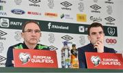23 March 2017; Republic of Ireland manager Martin O'Neill, left, and captain Seamus Coleman during a press conference at the FAI National Training Centre in Abbotstown, Co Dublin. Photo by Matt Browne/Sportsfile