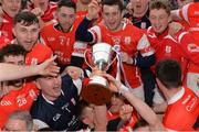 17 March 2017; Cuala players celebrate with the Tommy Moore Cup after the AIB GAA Hurling All-Ireland Senior Club Championship Final match between Ballyea and Cuala at Croke Park in Dublin. Photo by Piaras Ó Mídheach/Sportsfile