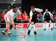 23 March 2017; Team Ireland's George Fitzgerald, a member of Waterford Special Olympics Club, from John's Hill, County Waterford, in action against Armend Krasniqi of Switzerland during the Floorball third and fourth place play off game between Ireland and Switzerland at the 2017 Special Olympics World Winter Games in the Messe Graz Center, Graz, Austria. Photo by Ray McManus/Sportsfile