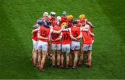 17 March 2017; The Cuala huddle ahead of the AIB GAA Hurling All-Ireland Senior Club Championship Final match between Ballyea and Cuala at Croke Park in Dublin. Photo by Ray McManus/Sportsfile