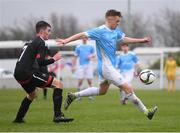 22 March 2017; Paul Doyle of Rice College in action against Sean Hillard of St. Francis College during the Bank of Ireland FAI Schools Dr. Tony O'Neill Senior Cup National Final match between Rice College, Westport, and St. Francis College, Rochestown, at Home Farm FC in Whitehall, Dublin. Photo by Stephen McCarthy/Sportsfile