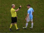 22 March 2017; Paul Doyle of Rice College receives a yellow card from referee Mark Whelan during the Bank of Ireland FAI Schools Dr. Tony O'Neill Senior Cup National Final match between Rice College, Westport, and St. Francis College, Rochestown, at Home Farm FC in Whitehall, Dublin. Photo by Stephen McCarthy/Sportsfile