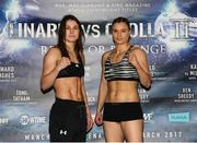 24 March 2017; Katie Taylor, left, with Milena Koleva following the weigh-in ahead of their Manchester Fight Night super featherweight bout. Radisson Blu Hotel, Manchester, England. Photo by Lawrence Lustig/Sportsfile