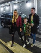 24 March 2017; Robbie Keane arrives with wife Claudine and son Robert Jr. ahead of the FIFA World Cup Qualifier Group D match between Republic of Ireland and Wales at the Aviva Stadium in Dublin. Photo by David Maher/Sportsfile