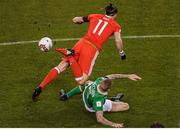 24 March 2017; James McClean of Republic of Ireland tackles Gareth Bale of Wales of Republic of Ireland during the FIFA World Cup Qualifier Group D match between Republic of Ireland and Wales at the Aviva Stadium in Dublin. Photo by Stephen McCarthy/Sportsfile