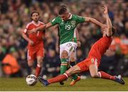 24 March 2017; Jon Walters of Republic of Ireland in action against James Chester of Wales during the FIFA World Cup Qualifier Group D match between Republic of Ireland and Wales at the Aviva Stadium in Dublin. Photo by Eóin Noonan/Sportsfile