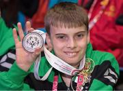 24 March 2017; Team Ireland's Caolan McConville, a member of Skiability Special Olympics Club, from Aghagallon, Co. Armagh, who won a Silver and a Bronze medal, at the 2017 Special Olympics World Winter Games Closing Ceremony in Stadium Graz, Graz, Austria. Photo by Ray McManus/Sportsfile