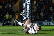 24 March 2017; Craig Gilroy of Ulster scores a try during the Guinness PRO12 Round 18 match between Newport Gwent Dragons and Ulster at Rodney Parade in Newport, Wales. Photo by Ben Evans/Sportsfile